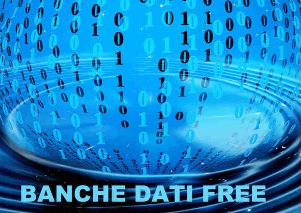 codice binario in sfera azzurra con scritta banche dati free