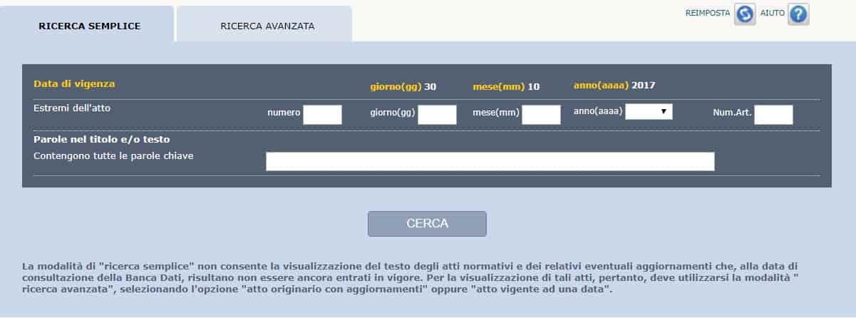normattiva motore di ricerca semplice