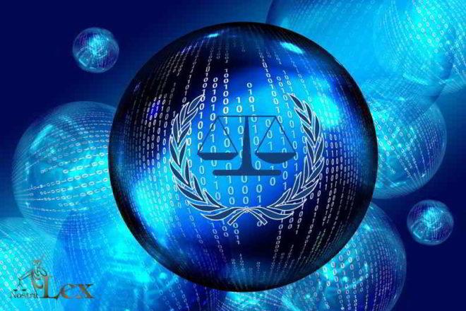 sfere con codici binari e bilancia della giustizia