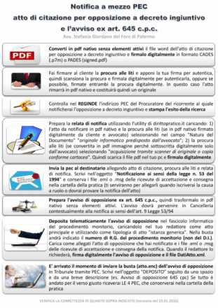 lista adempimenti notifica pec opposizione decreto ingiuntivo