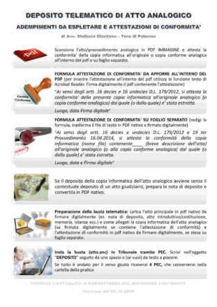 lista adempimenti per il deposito telematico di atto analogico