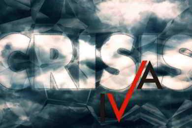 sfondo tempesta con scritta crisis iva